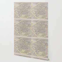 Vintage Map of Brussels Belgium (1901) Wallpaper