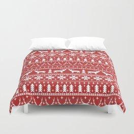 Deer christmas fair isle camping pattern snowflakes minimal winter seasonal holiday gifts Duvet Cover
