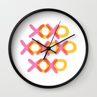 xoxo Wall Clocks featuring XOXO by ghennah