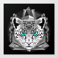 snow leopard Canvas Prints featuring Snow Leopard by chobopop