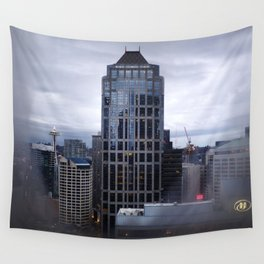 Seattle Skyline and Space Needle on a Cloudy Day Wall Tapestry