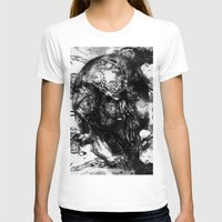 psychadelic T-shirts featuring Black and White Psychadelic skull print  by Seawolf Designs