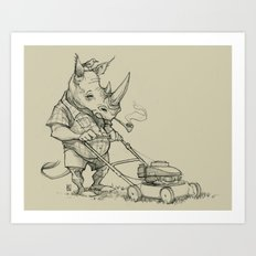 Rhino Mower Art Print