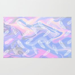 Tropical Candy Marble Pattern - Pink and Blue Rug