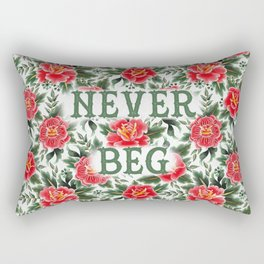 Never Beg - Vintage Floral Tattoo Collection Rectangular Pillow