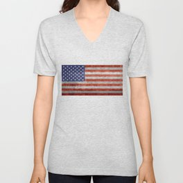 Flag of the United States of America - Vintage Retro Distressed Textured version Unisex V-Neck