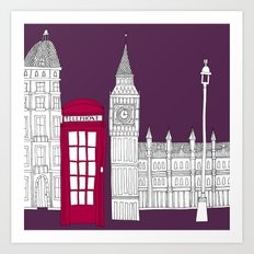 Night Sky // London Red Telephone Box Art Print