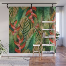 Painted Jungle Leaves 2 Wall Mural
