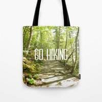 hiking Tote Bags featuring Go Hiking by Jennifer Kimberly