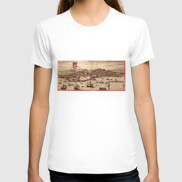 Vintage Pictorial Map of Lisbon Portugal (1572) T-shirt