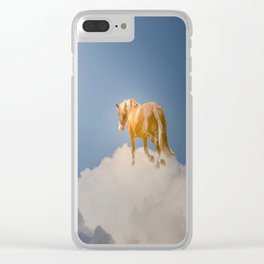 Walking on clouds over the blue sky Clear iPhone Case