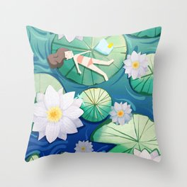 Girl Lay On Lotus Throw Pillow