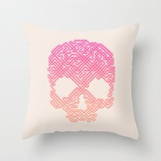 Labyrinthine Skull - Tropical Throw Pillow