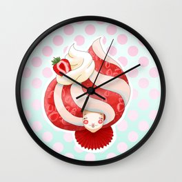 Doll faced strawberry and cream parfait Wall Clock