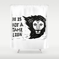 narnia Shower Curtains featuring He is Not a Tame Lion by Lydia Zee