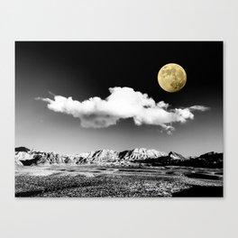Black Desert Sky & Golden Moon // Red Rock Canyon Las Vegas Mojave Lune Celestial Mountain Range Canvas Print