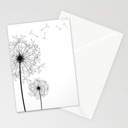 Black And White Dandelion Sketch Stationery Cards