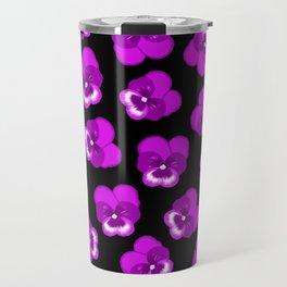 Purple Multiple Pansies Travel Mug