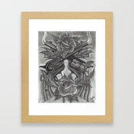 Revolvers and roses Framed Art Print