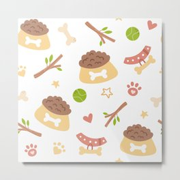 Baby Dog Foods,  Dog Paw Prints, Cute Hearts and  Tree Branches Metal Print