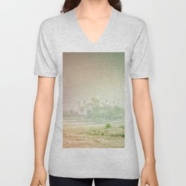 Colors of Dreamy Taj Mahal in the Morning Mist Behind the Yamuna River Unisex V-Neck