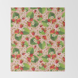 Pink Paisley Strawberries Throw Blanket