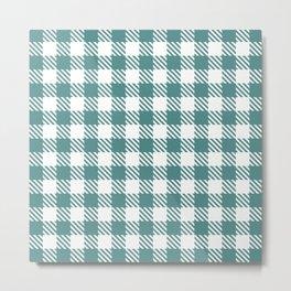 Plaid Pattern 512 Teal Green Metal Print
