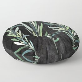 Eucalyptus Branches On Chalkboard Floor Pillow