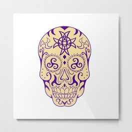 Mexican Skull  With Triskele and Celtic Cross Tattoo Metal Print