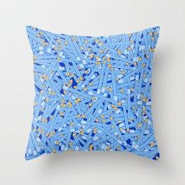 Bedtime Stories BLUE / Cartoon pencil pattern Throw Pillow