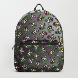 Boston Terrier in Black - Day of the Dead Sugar Skull Dog Backpack
