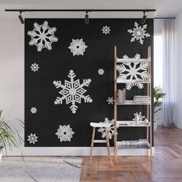 Snowflakes | Black & White Wall Mural