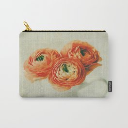 Orange Ranunculus Textured  Carry-All Pouch