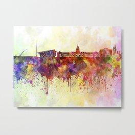 Dublin skyline in watercolor background Metal Print