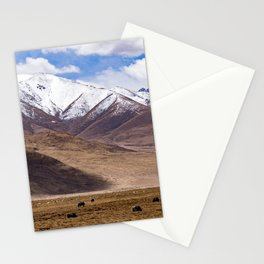 Tibet landscape with yaks Stationery Cards