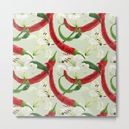 Red chili pepper and lily white flower watercolor seamless pattern Metal Print