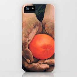 Hands holding a tomato iPhone Case