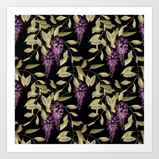 The Branches Of Wisteria . Black . Art Print