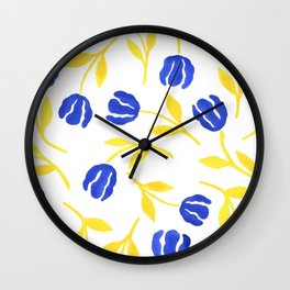 Blue and Yellow Floral Wall Clock