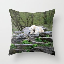 Sleeping Polarbear in the Forest Throw Pillow