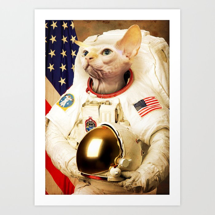 Astronaut Cat Art Print by bakus | Society6