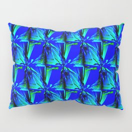Intense Blue With Green Accents Geometric Pattern Pillow Sham