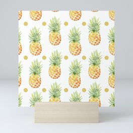 tropical pineapple pattern with gold dots Mini Art Print