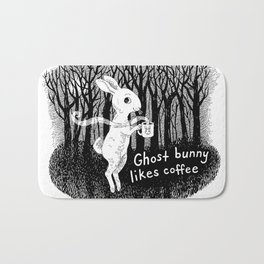 Ghost bunny likes coffee Bath Mat