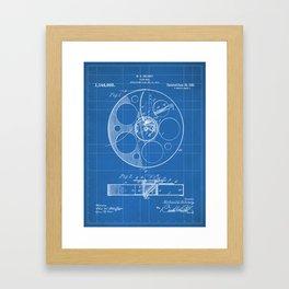 Film Reel Patent - Classic Cinema Art - Blueprint Framed Art Print