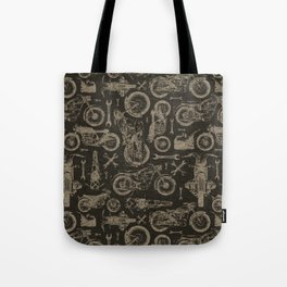 Dark Vintage Motorcycle Pattern Tote Bag