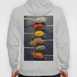 Colorful spices in metal spoons Hoody