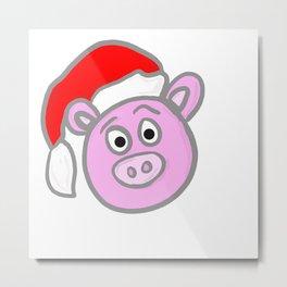 Christmassy Pig Metal Print