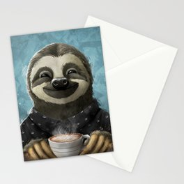 Sloth smilling with coffee latte Stationery Cards