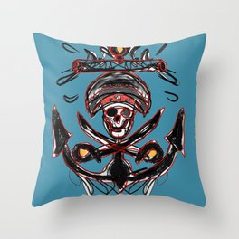 Splashed Pirates Anchor on teal Throw Pillow